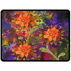 Abstract Flowers Floral Decorative Double Sided Fleece Blanket (Large)