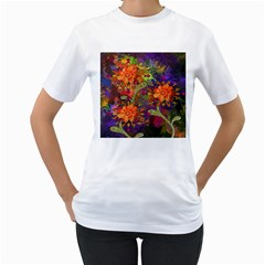 Abstract Flowers Floral Decorative Women s T-Shirt (White)