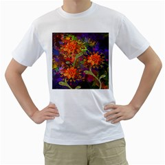 Abstract Flowers Floral Decorative Men s T-Shirt (White)