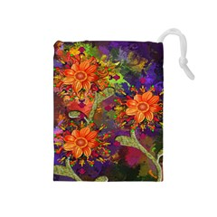 Abstract Flowers Floral Decorative Drawstring Pouches (medium)