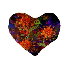 Abstract Flowers Floral Decorative Standard 16  Premium Flano Heart Shape Cushions