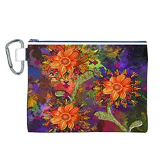 Abstract Flowers Floral Decorative Canvas Cosmetic Bag (L)
