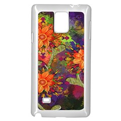 Abstract Flowers Floral Decorative Samsung Galaxy Note 4 Case (White)