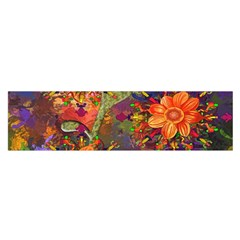 Abstract Flowers Floral Decorative Satin Scarf (oblong)