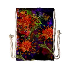 Abstract Flowers Floral Decorative Drawstring Bag (Small)