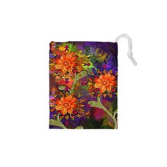 Abstract Flowers Floral Decorative Drawstring Pouches (XS)