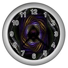 Abstract Fractal Art Wall Clocks (silver)