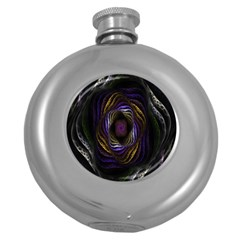 Abstract Fractal Art Round Hip Flask (5 oz)