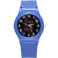 Abstract Fractal Art Round Plastic Sport Watch (S)