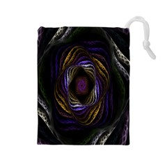 Abstract Fractal Art Drawstring Pouches (large)