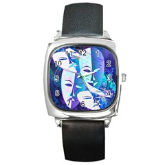Abstract Mask Artwork Digital Art Square Metal Watch