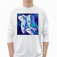 Abstract Mask Artwork Digital Art White Long Sleeve T-Shirts