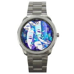 Abstract Mask Artwork Digital Art Sport Metal Watch