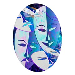 Abstract Mask Artwork Digital Art Oval Ornament (Two Sides)
