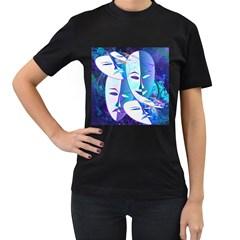 Abstract Mask Artwork Digital Art Women s T-Shirt (Black)