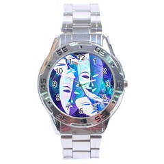 Abstract Mask Artwork Digital Art Stainless Steel Analogue Watch