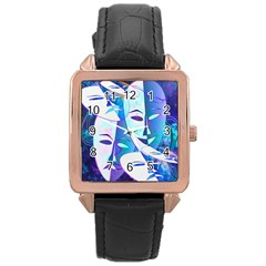 Abstract Mask Artwork Digital Art Rose Gold Leather Watch