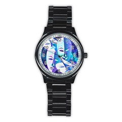 Abstract Mask Artwork Digital Art Stainless Steel Round Watch