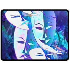 Abstract Mask Artwork Digital Art Double Sided Fleece Blanket (Large)