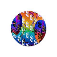 Abstract Mask Artwork Digital Art Rubber Round Coaster (4 pack)