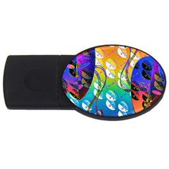 Abstract Mask Artwork Digital Art USB Flash Drive Oval (4 GB)
