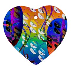 Abstract Mask Artwork Digital Art Heart Ornament (two Sides)