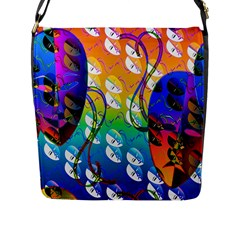 Abstract Mask Artwork Digital Art Flap Messenger Bag (L)