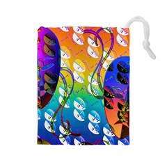 Abstract Mask Artwork Digital Art Drawstring Pouches (Large)