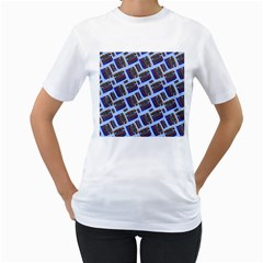 Abstract Pattern Seamless Artwork Women s T-Shirt (White) (Two Sided)