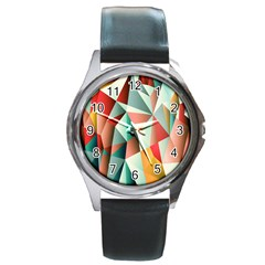 Abstracts Colour Round Metal Watch
