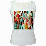 Abstracts Colour Women s White Tank Top Front