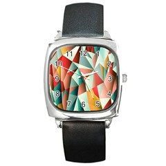 Abstracts Colour Square Metal Watch
