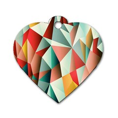 Abstracts Colour Dog Tag Heart (two Sides)