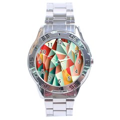 Abstracts Colour Stainless Steel Analogue Watch