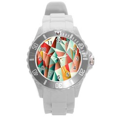 Abstracts Colour Round Plastic Sport Watch (l)