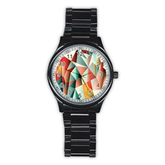 Abstracts Colour Stainless Steel Round Watch