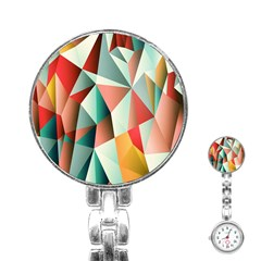 Abstracts Colour Stainless Steel Nurses Watch