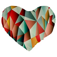Abstracts Colour Large 19  Premium Flano Heart Shape Cushions