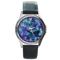 Abstract Ship Water Scape Ocean Round Metal Watch