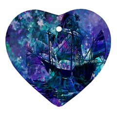 Abstract Ship Water Scape Ocean Ornament (heart)