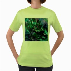 Abstract Ship Water Scape Ocean Women s Green T-Shirt