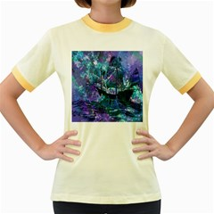 Abstract Ship Water Scape Ocean Women s Fitted Ringer T-Shirts