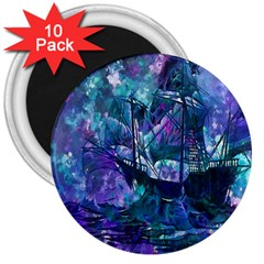 Abstract Ship Water Scape Ocean 3  Magnets (10 pack)