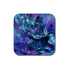 Abstract Ship Water Scape Ocean Rubber Coaster (Square)