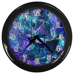 Abstract Ship Water Scape Ocean Wall Clocks (Black)
