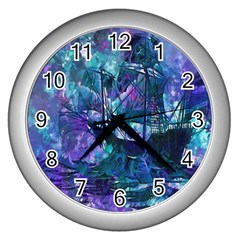 Abstract Ship Water Scape Ocean Wall Clocks (Silver)