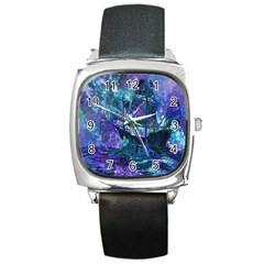 Abstract Ship Water Scape Ocean Square Metal Watch