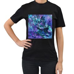 Abstract Ship Water Scape Ocean Women s T-Shirt (Black) (Two Sided)