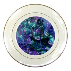 Abstract Ship Water Scape Ocean Porcelain Plates