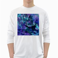 Abstract Ship Water Scape Ocean White Long Sleeve T-Shirts